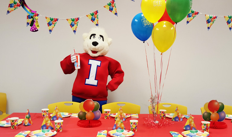 ICEE Bear at Party Table